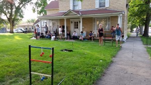 Playing yard games at one of our recent weekly dinners. We'd love it if you'd serve a meal!